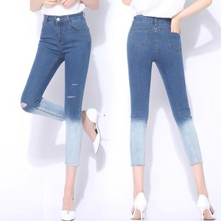 Ripped Cropped Skinny Jeans from Denimot