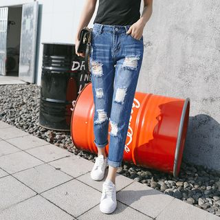 Ripped Straight Cut Jeans from Denimot