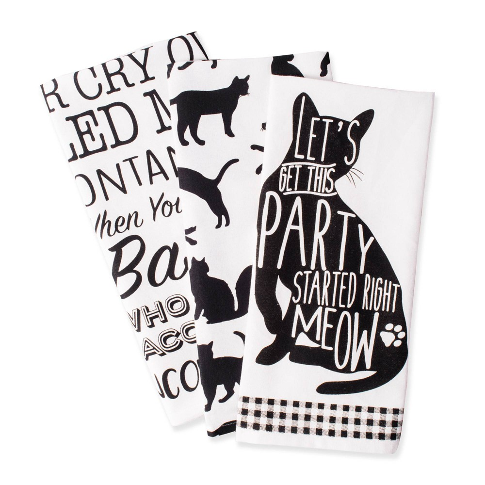 3pk Cotton Assorted Cat Print Dishtowels Black/White - Design Imports from Design Imports