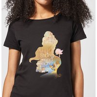 Disney Princess Filled Silhouette Belle Women's T-Shirt - Black - XXL - Black from Disney
