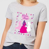 Disney Princesses Christmas Silhouette Winter Magic Women's Grey T-Shirt - XL - Grey from Disney