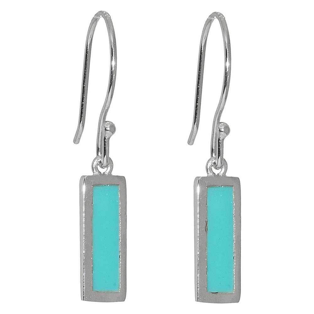 Sterling Silver Rectangular Drop Earrings - Turquoise/Silver from Distributed by Target