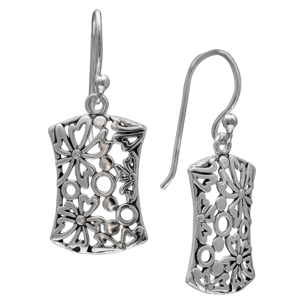 Women's Oxidized Filigree Flower Rectangle Earrings in Sterling Silver - Gray (29mm) from Distributed by Target