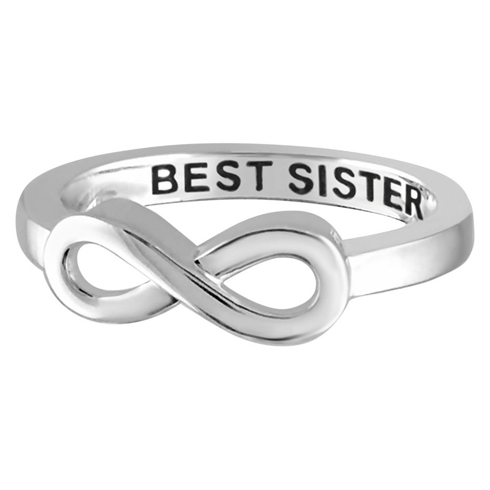 "Women's Sterling Silver Elegantly Engraved Infinity Ring with ""BEST SISTER"" - White (5) from Distributed by Target"