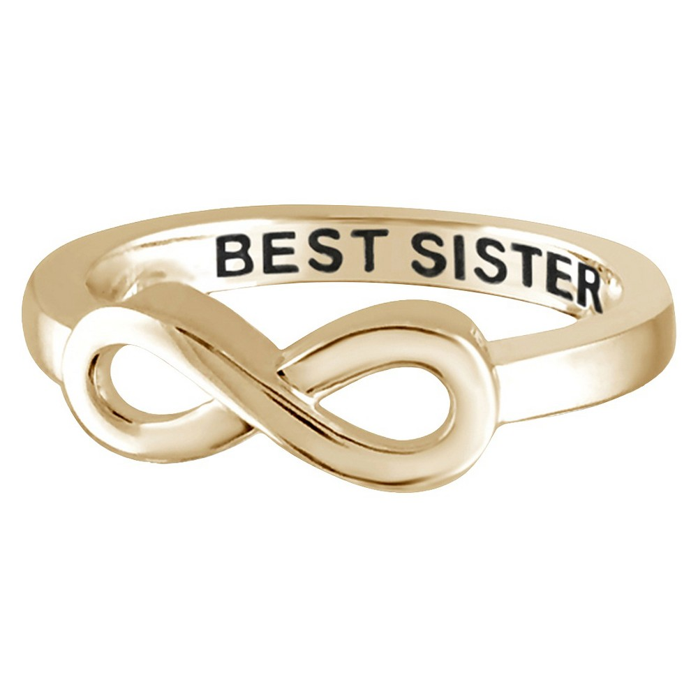 "Women's Sterling Silver Elegantly Engraved Infinity Ring with ""BEST SISTER"" - Yellow (8) from Distributed by Target"