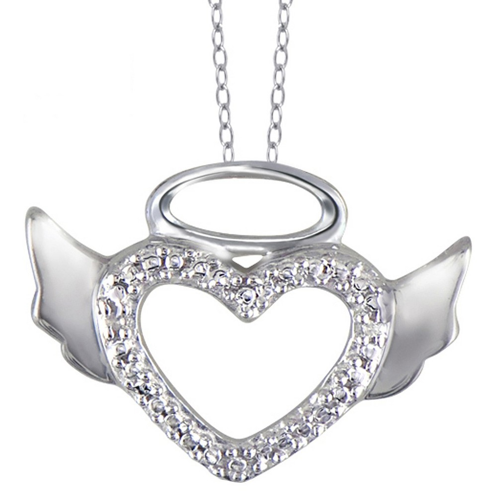 "Women's Sterling Silver Round-Cut White Diamond Pave Set Angel Halo Wing Heart Pendant - White (18"") from Distributed by Target"