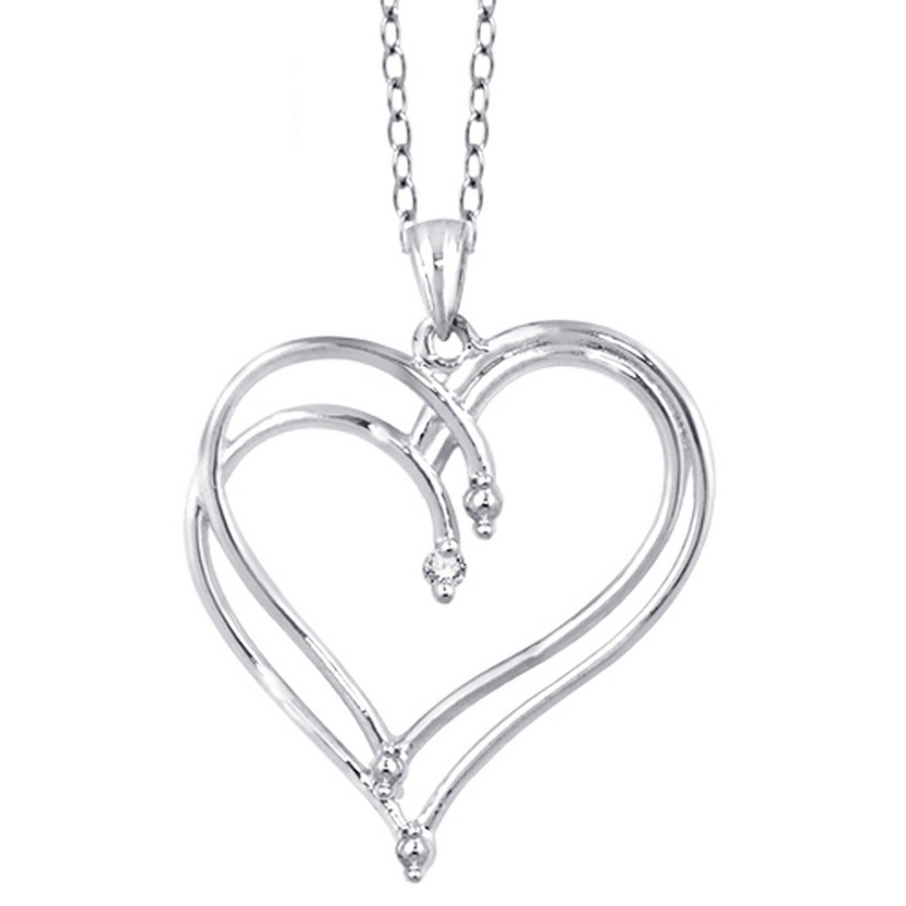 "Women's Sterling Silver Round-Cut White Diamond Prong Set Double Heart Pendant - White (18"") from Distributed by Target"