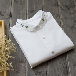 Embroidered Peter Pan Collar Long-Sleeved Plain Blouse from Doyle