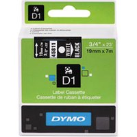 "D1 High-Performance Polyester Removable Label Tape, 3/4"" x 23 ft, White on Black from Dymo"