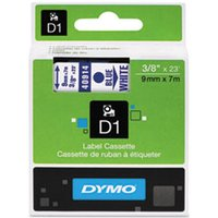 "D1 High-Performance Polyester Removable Label Tape, 3/8"" x 23 ft, Blue on White from Dymo"