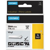 "Rhino Permanent Vinyl Industrial Label Tape, 1"" x 18 ft, White/Black Print from Dymo"