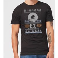 E.T. the Extra-Terrestrial Christmas Men's T-Shirt - Black - L - Black from E.T. the Extra-Terrestrial