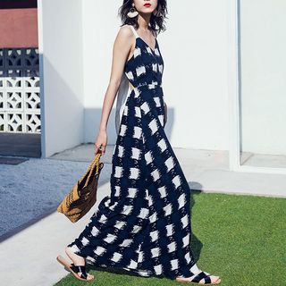 Checked Bow Back Spaghetti Strap Maxi A-Line Dress from EFO