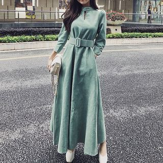 Corduroy Belt Waist Maxi Dress from EFO