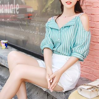 Cut Out Shoulder Elbow Sleeve Striped Blouse from EFO
