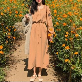 Drawstring Long Sleeve Midi Dress Tangerine - One Size from EFO