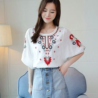 Embroidered Elbow-Sleeve Top from EFO