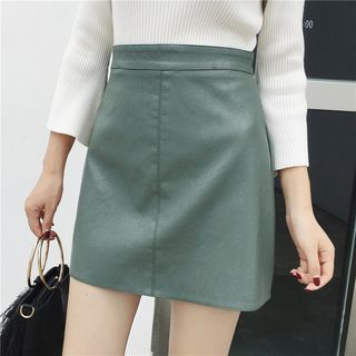 Faux-Leather A-Line Skirt from EFO