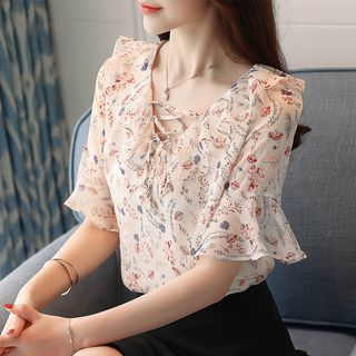 Floral Print Short-Sleeve Chiffon Top from EFO