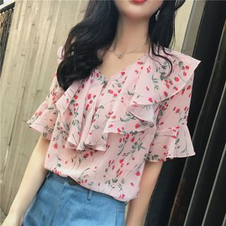 Floral Print Short Sleeve Ruffled Top from EFO