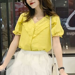 Frilled Trim Short Sleeve V-Neck Blouse from EFO