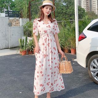 Gather-Waist Floral Maxi Dress from EFO