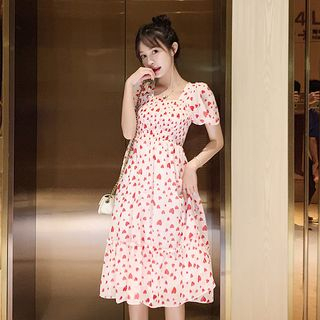 Heart Print Short-Sleeve A-Line Chiffon Dress from EFO