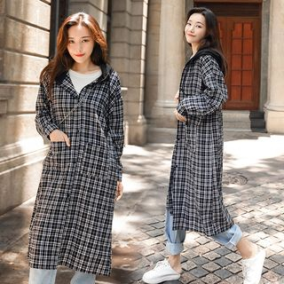 Hooded Plaid Long Shirt from EFO