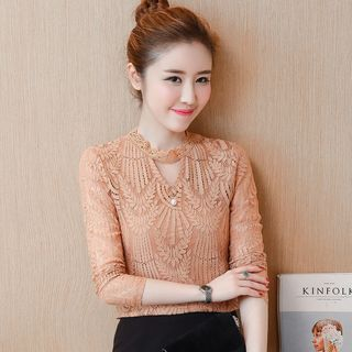 Lace Trim Long-Sleeve Top from EFO