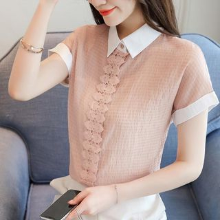 Lace Trim Short-Sleeve Chiffon Shirt from EFO