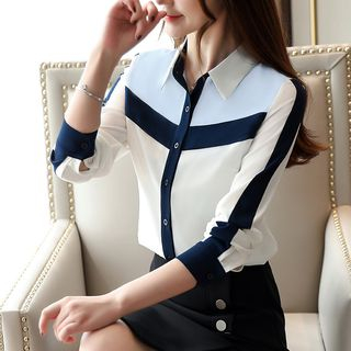 Long-Sleeve Color-Panel Chiffon Shirt from EFO