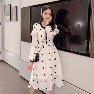Long-Sleeve Dotted Midi A-Line Dress from EFO