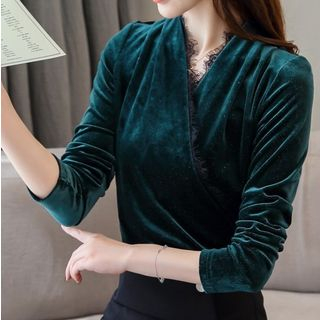 Long-Sleeve Lace Trim Pleuche Top from EFO