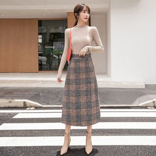 Midi A-Line Plaid Skirt from EFO