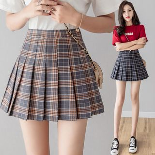Plaid Mini A-Line Skirt from EFO