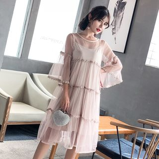 Set: 3/4-Sleeve Embellished A-Line Mesh Dress + Slipdress from EFO