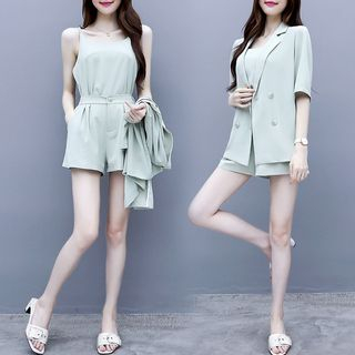 Set: Double-Breasted Elbow-Sleeve Blazer + Wide-Leg Shorts from EFO