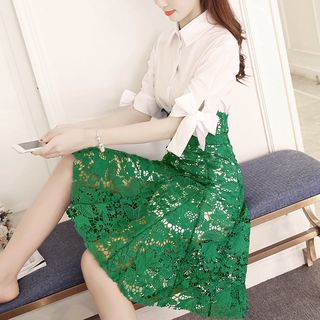 Set: Elbow-Sleeve Shirtdress + A-Line Lace Skirt from EFO