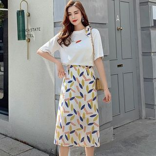 Set: Leaf Print Short-Sleeve T-Shirt + Midi A-Line Skirt from EFO