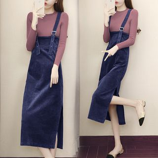 Set: Long Sleeve Knit Top + Corduroy Jumper Dress from EFO