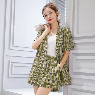 Set: Plaid Short-Sleeve Blazer + Shorts from EFO