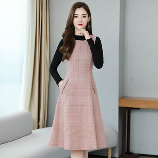 Set: Plain Knit Top + Plaid Pinafore Dress from EFO