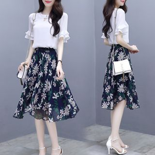 Set: Ruffle Short-Sleeve Blouse + Flower Print A-Line Skirt from EFO