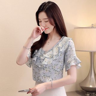 Short-Sleeve Floral Blouse from EFO