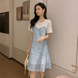 Short Sleeve Lace Panel Mock Two Piece Dress from EFO