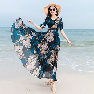 Short-Sleeve Maxi Floral Chiffon Dress from EFO