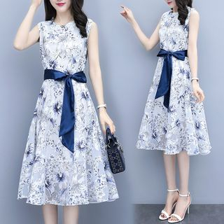 Tie-Waist Floral Print Sleeveless A-Line Dress from EFO
