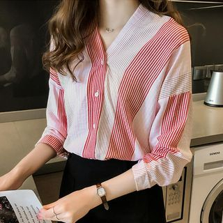 V-Neck Striped Blouse from EFO