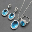 Oval White Stone Silver Plated Jewelry Sets for Women Necklace Dangle Earrings Ring Six Colors Available Free Jewelry Box from EIOLZJ