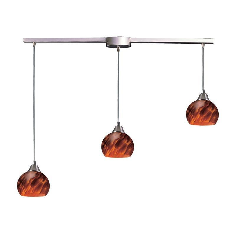 ELK Lighting 101-3L-Es Three Light Pendant In Satin Nickel And Espresso Glass from ELK Lighting